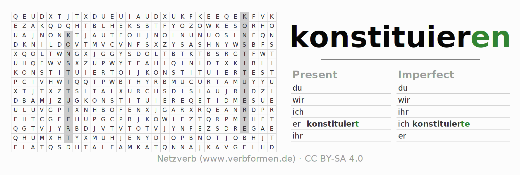 Word search puzzle for the conjugation of the verb konstituieren