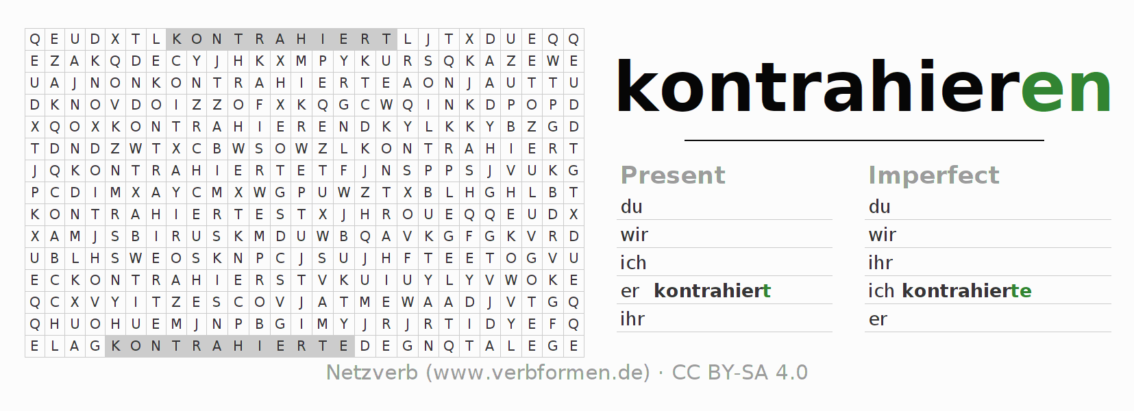 Word search puzzle for the conjugation of the verb kontrahieren