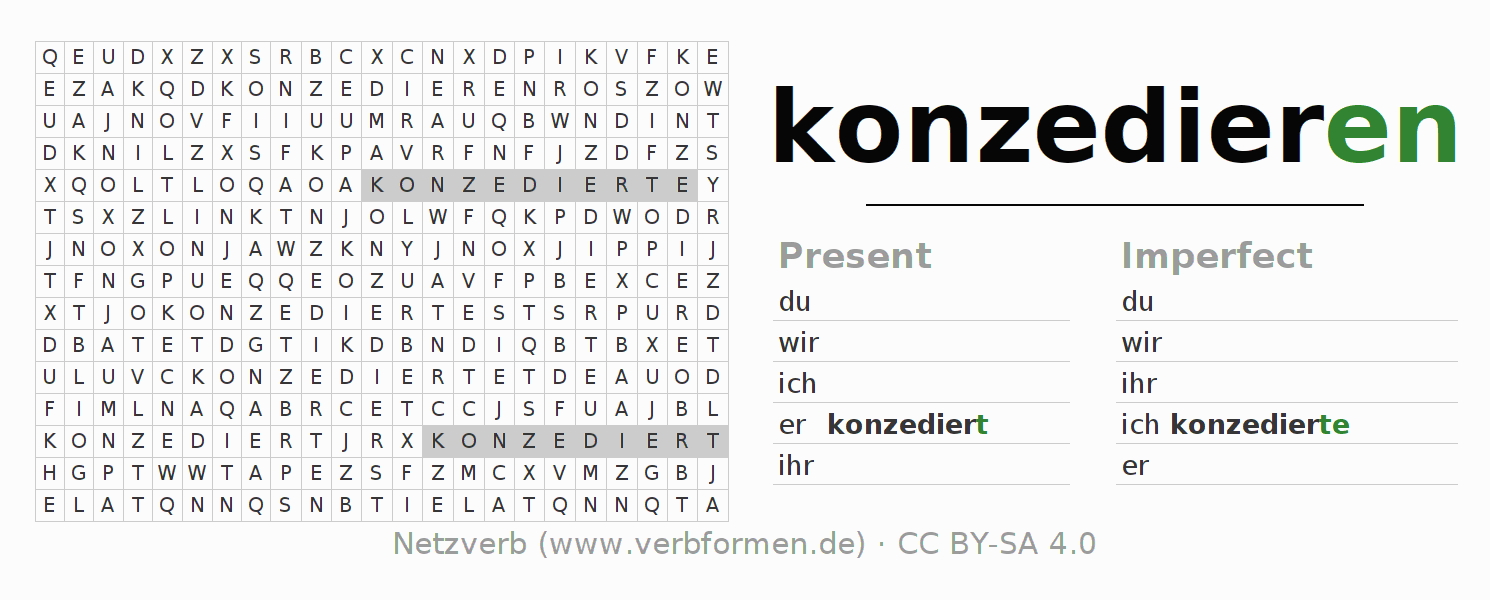 Word search puzzle for the conjugation of the verb konzedieren
