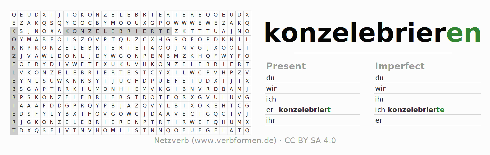 Word search puzzle for the conjugation of the verb konzelebrieren