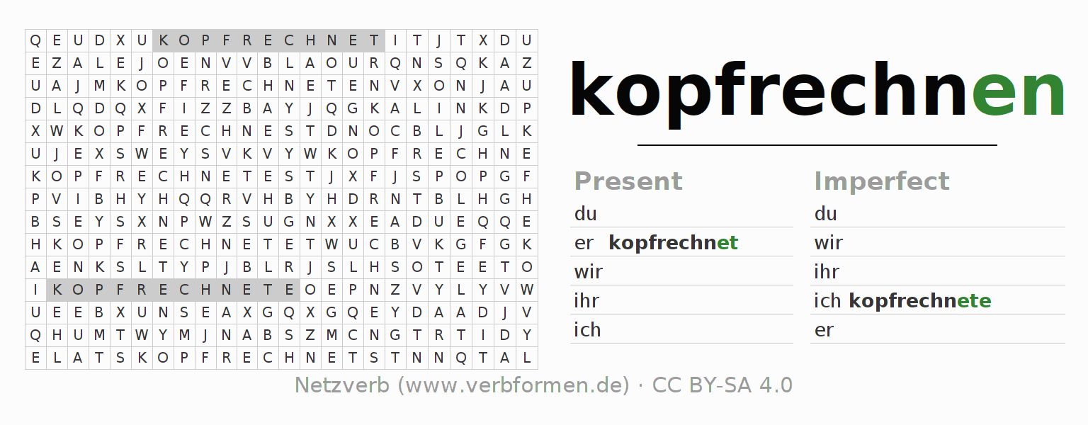 Word search puzzle for the conjugation of the verb kopfrechnen