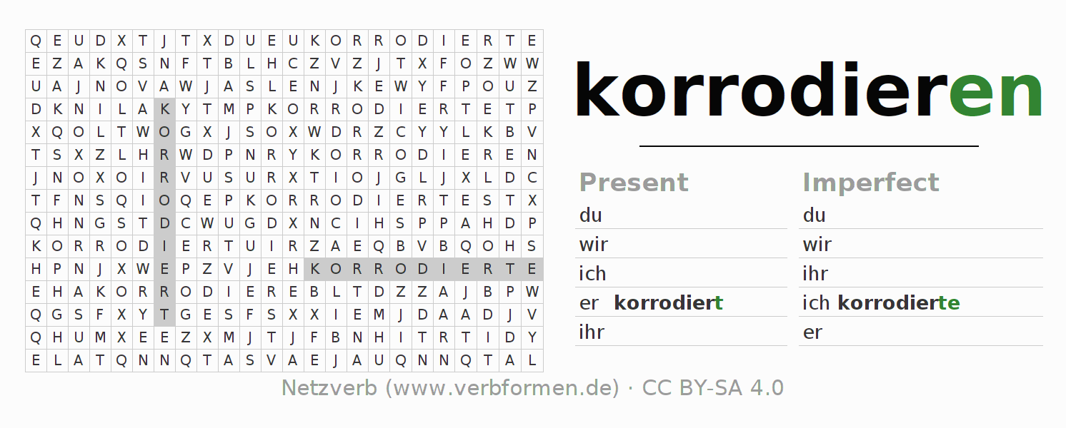 Word search puzzle for the conjugation of the verb korrodieren (ist)