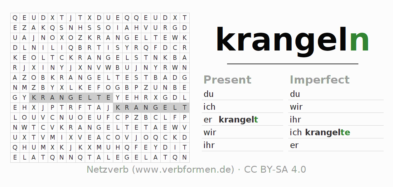 Word search puzzle for the conjugation of the verb krangeln