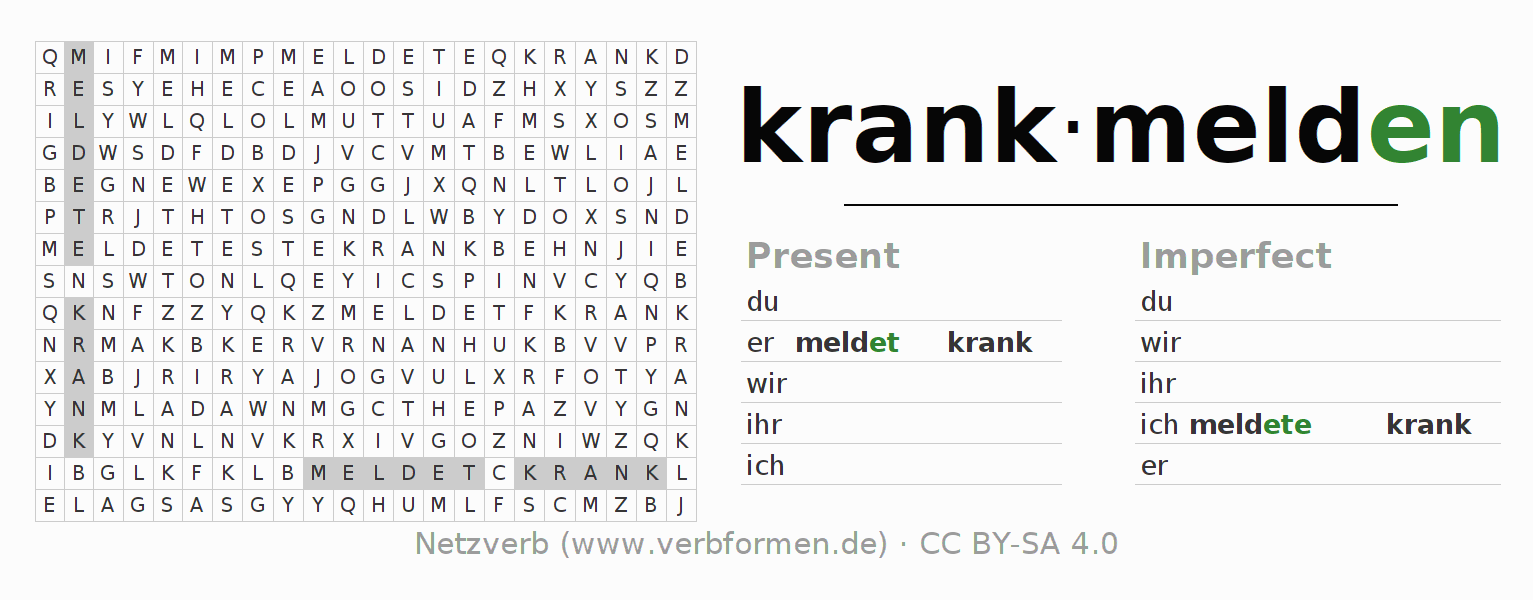 Word search puzzle for the conjugation of the verb krankmelden