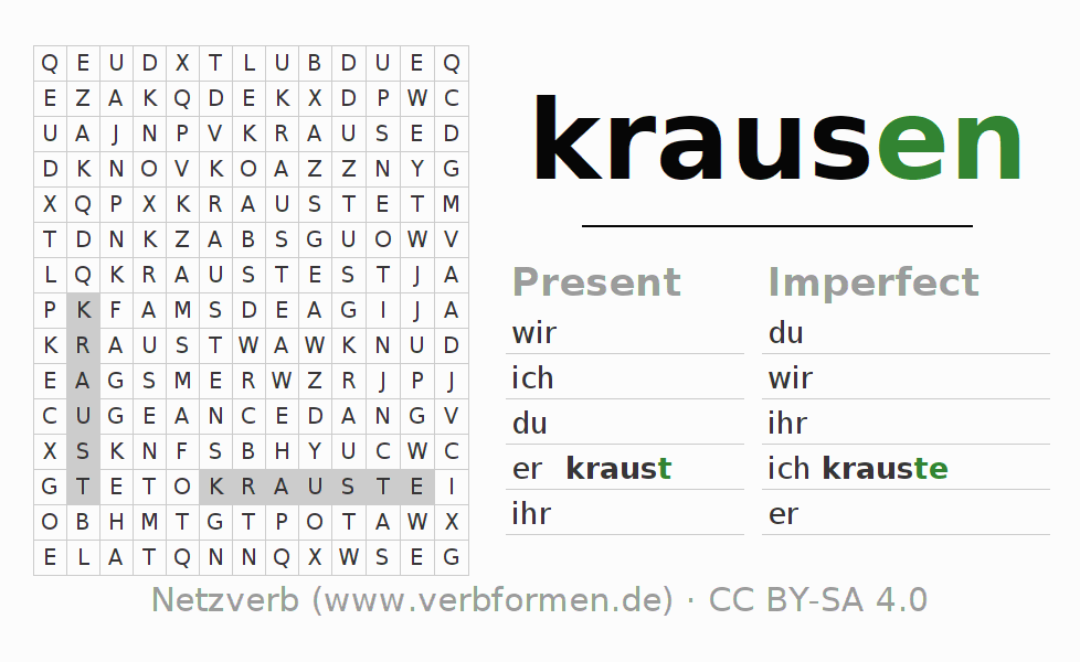 Word search puzzle for the conjugation of the verb krausen