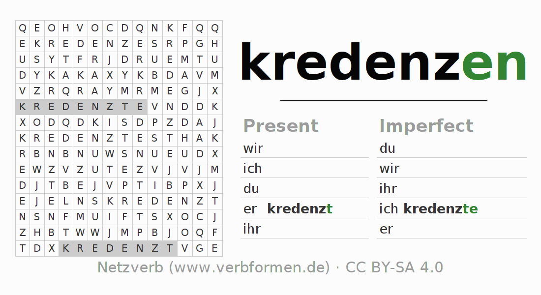 Word search puzzle for the conjugation of the verb kredenzen