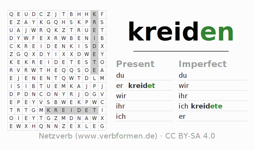 Word search puzzle for the conjugation of the verb kreiden