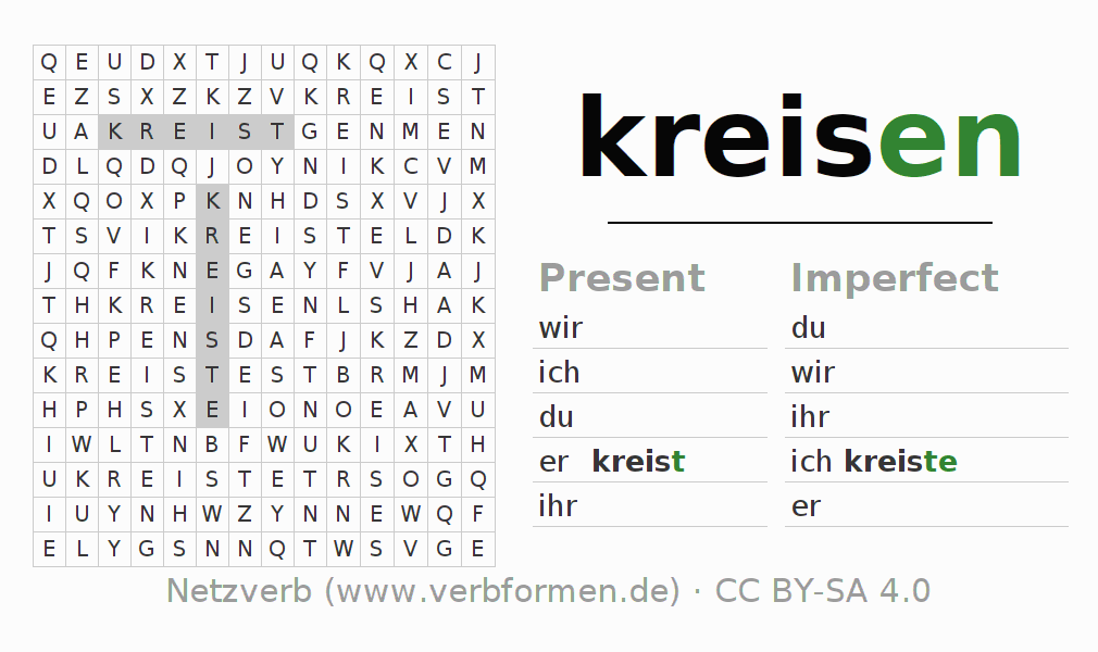 Word search puzzle for the conjugation of the verb kreisen (hat)
