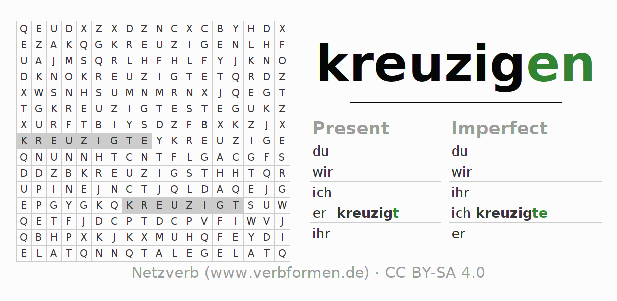 Word search puzzle for the conjugation of the verb kreuzigen