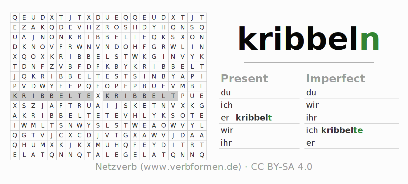 Word search puzzle for the conjugation of the verb kribbeln (ist)