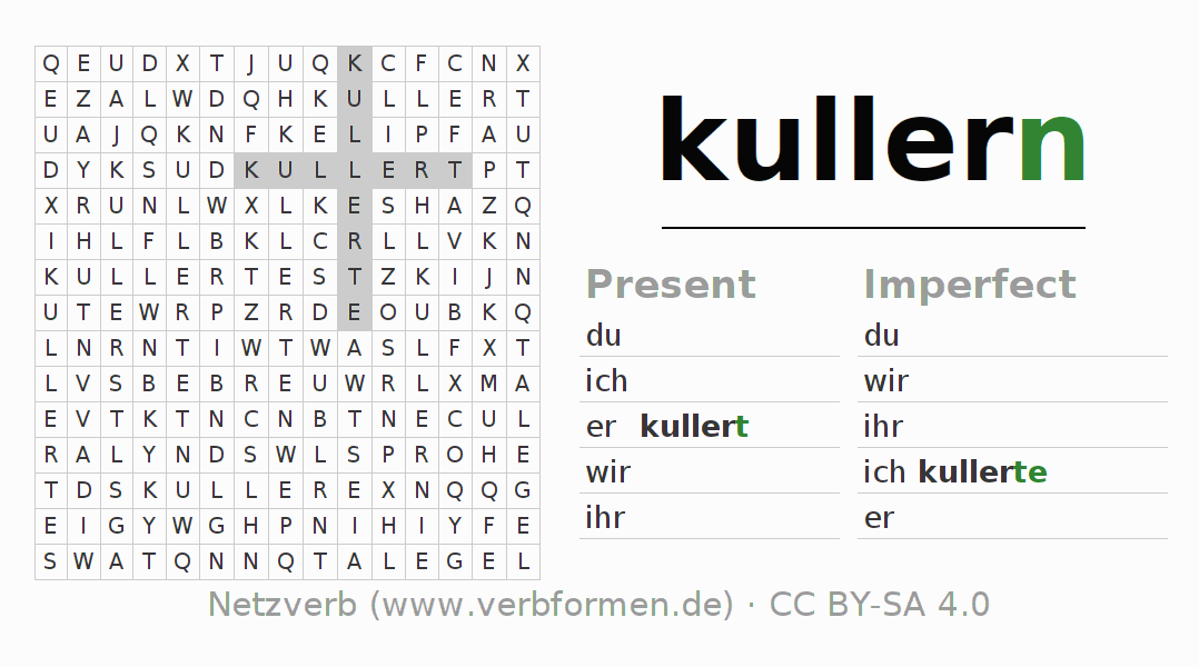 Word search puzzle for the conjugation of the verb kullern (ist)