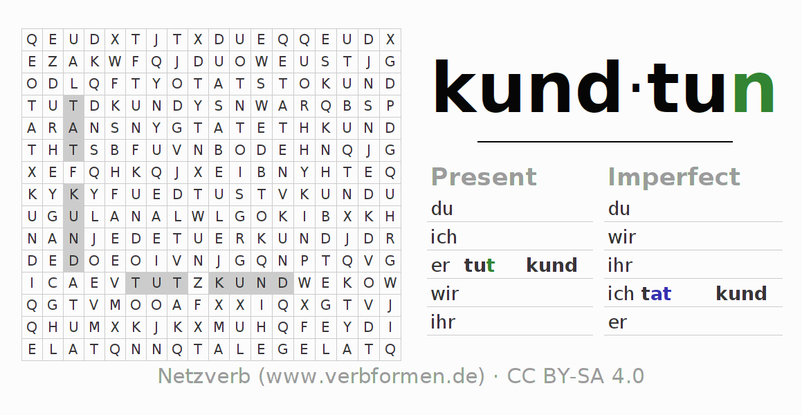 Word search puzzle for the conjugation of the verb kundtun