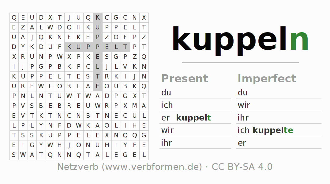 Word search puzzle for the conjugation of the verb kuppeln