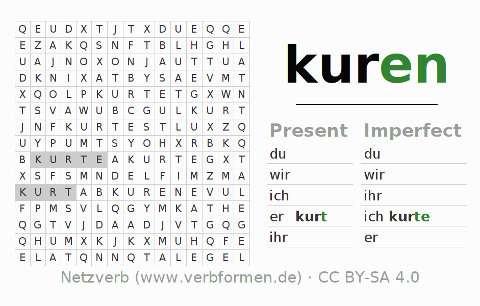 Word search puzzle for the conjugation of the verb kuren