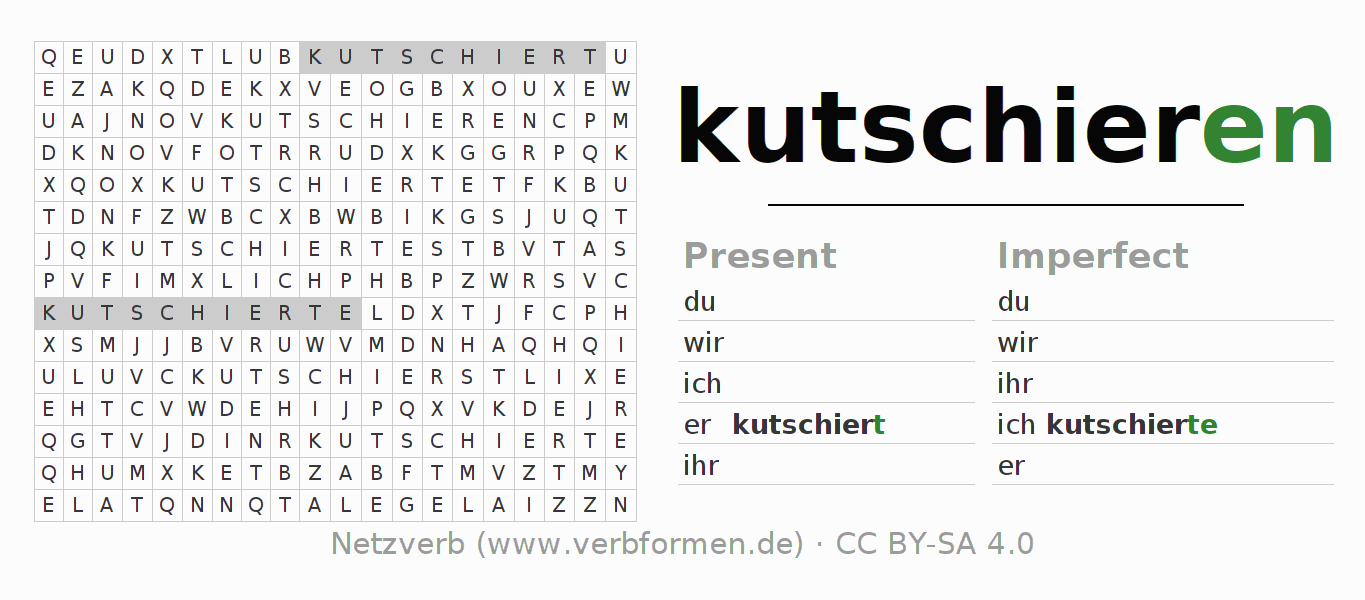 Word search puzzle for the conjugation of the verb kutschieren (ist)