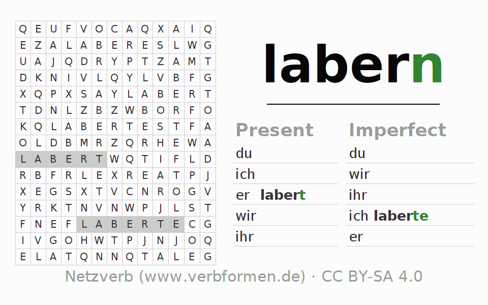 Word search puzzle for the conjugation of the verb labern