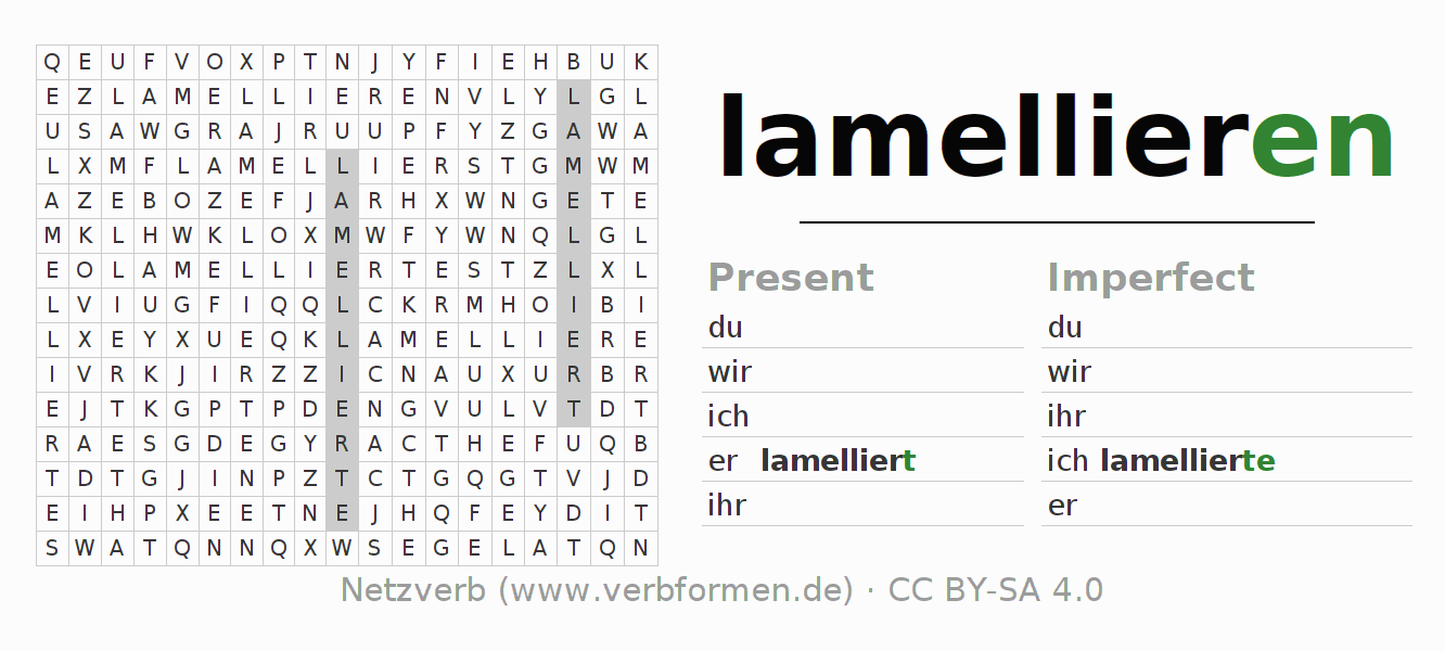 Word search puzzle for the conjugation of the verb lamellieren