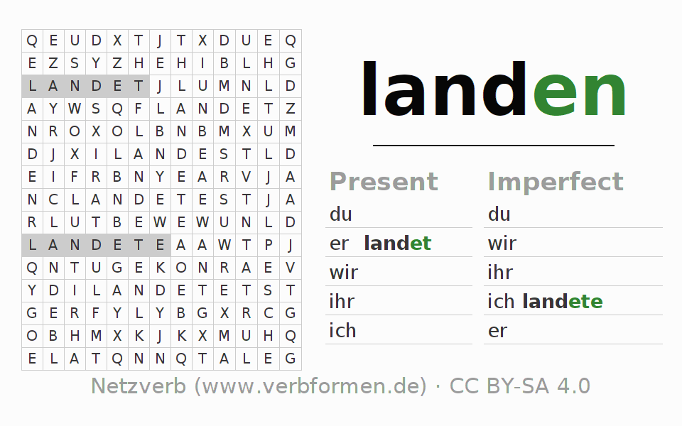 Word search puzzle for the conjugation of the verb landen (ist)