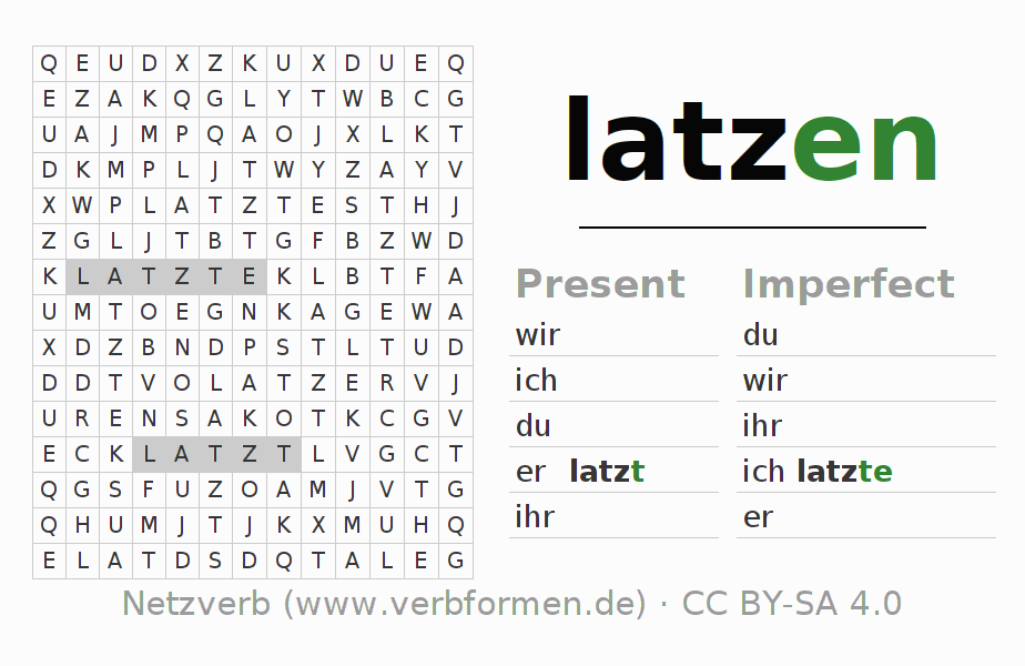 Word search puzzle for the conjugation of the verb latzen