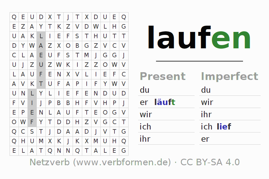 Word search puzzle for the conjugation of the verb laufen (ist)
