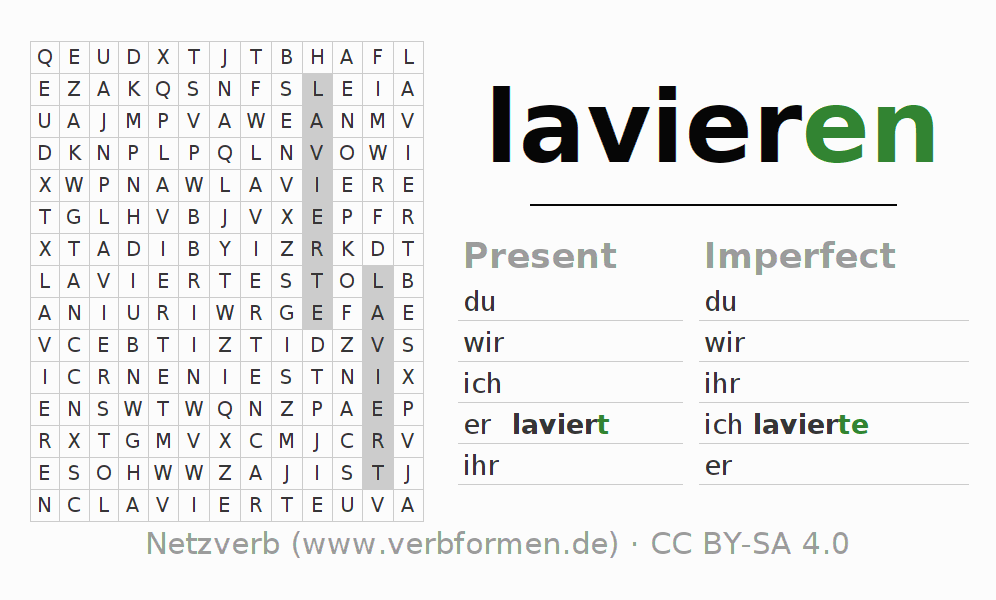 Word search puzzle for the conjugation of the verb lavieren (hat)