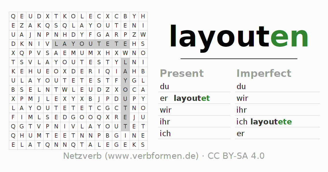 Word search puzzle for the conjugation of the verb layouten