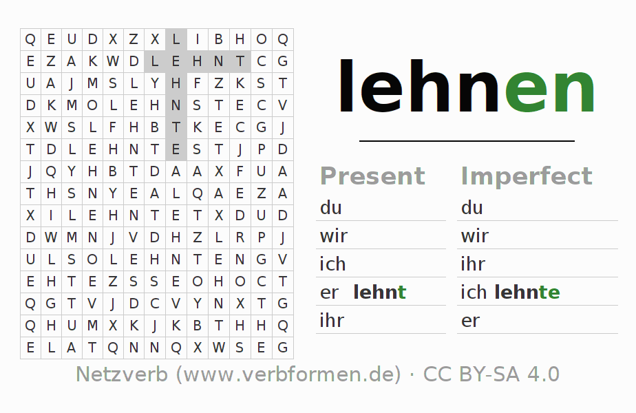 Word search puzzle for the conjugation of the verb lehnen