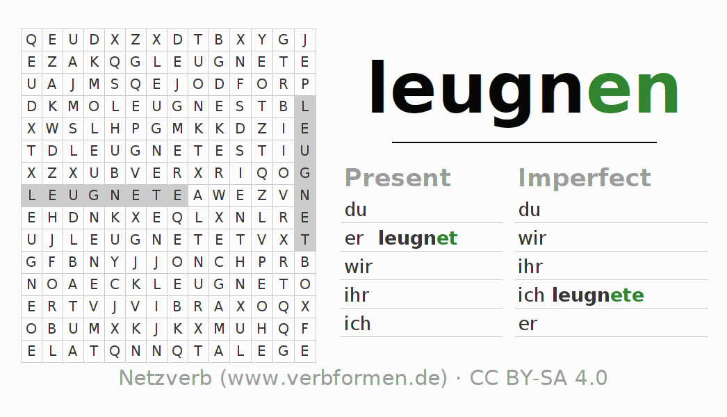 Word search puzzle for the conjugation of the verb leugnen