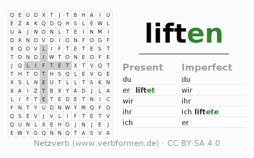 Word search puzzle for the conjugation of the verb liften