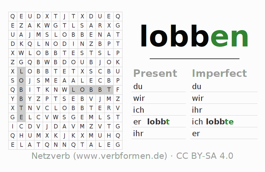 Word search puzzle for the conjugation of the verb lobben
