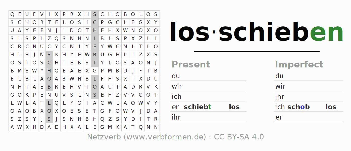 Word search puzzle for the conjugation of the verb losschieben
