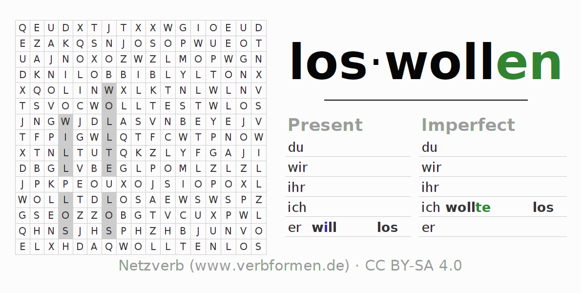 Word search puzzle for the conjugation of the verb loswollen