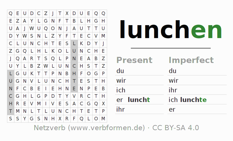 Word search puzzle for the conjugation of the verb lunchen