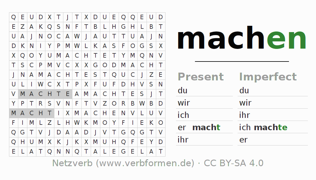 Word search puzzle for the conjugation of the verb machen (hat)