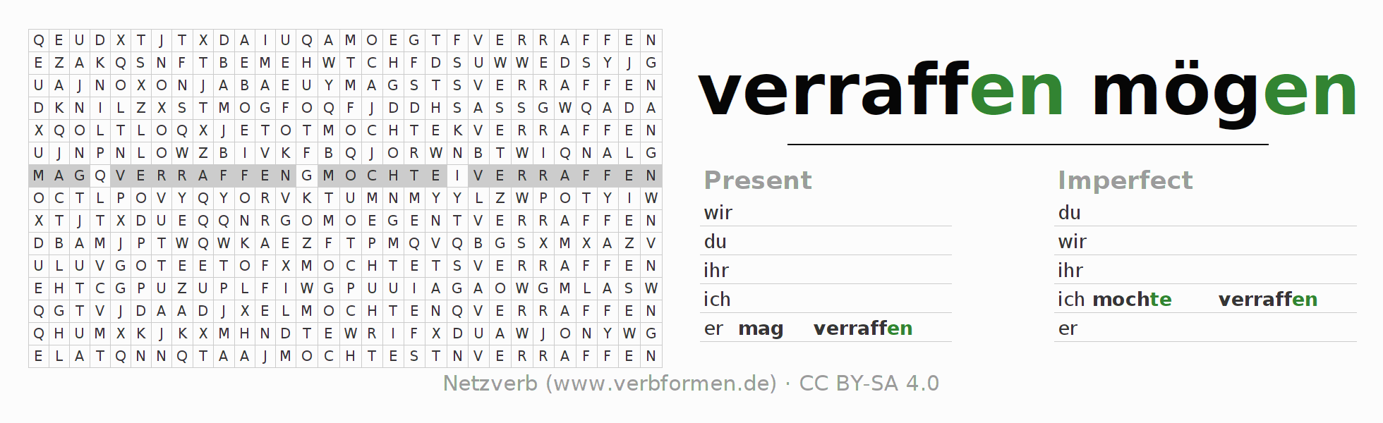 Word search puzzle for the conjugation of the verb mag verraffen