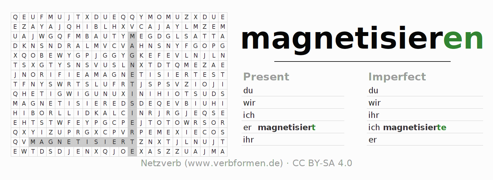 Word search puzzle for the conjugation of the verb magnetisieren