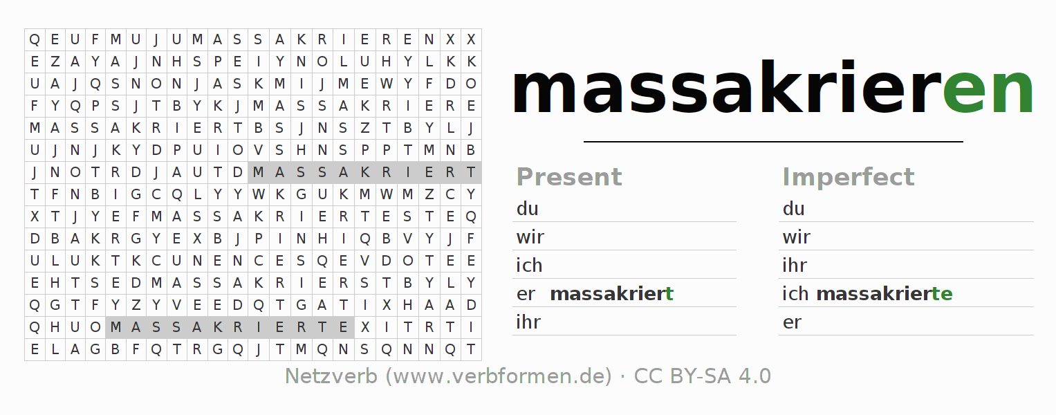 Word search puzzle for the conjugation of the verb massakrieren