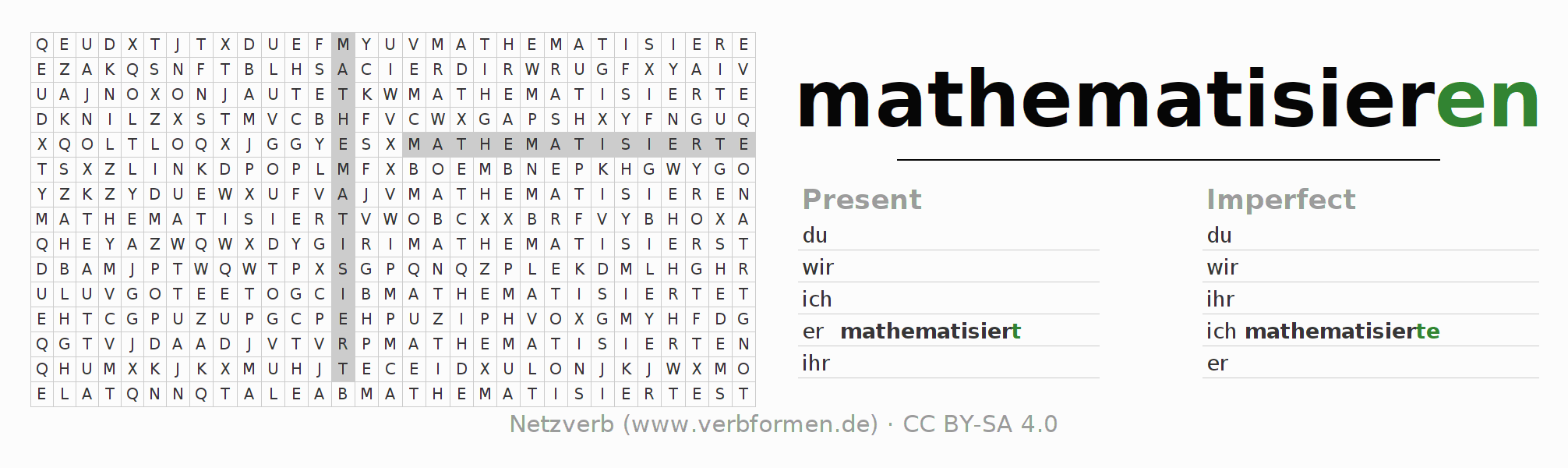 Word search puzzle for the conjugation of the verb mathematisieren