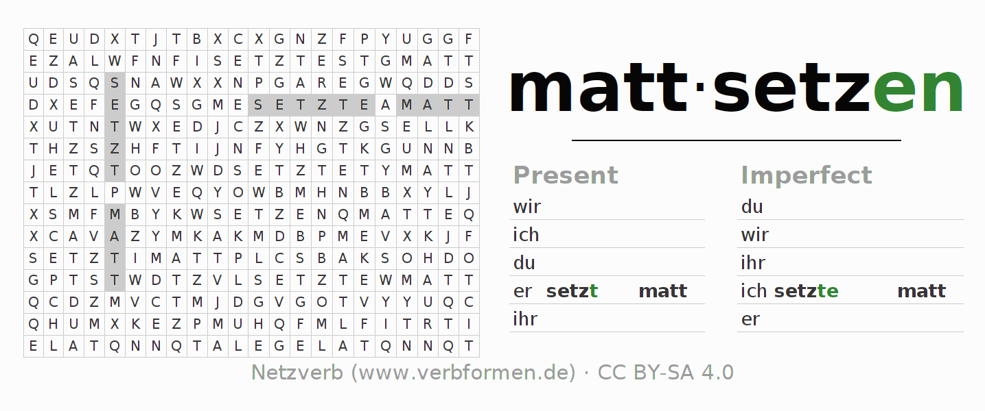Word search puzzle for the conjugation of the verb mattsetzen
