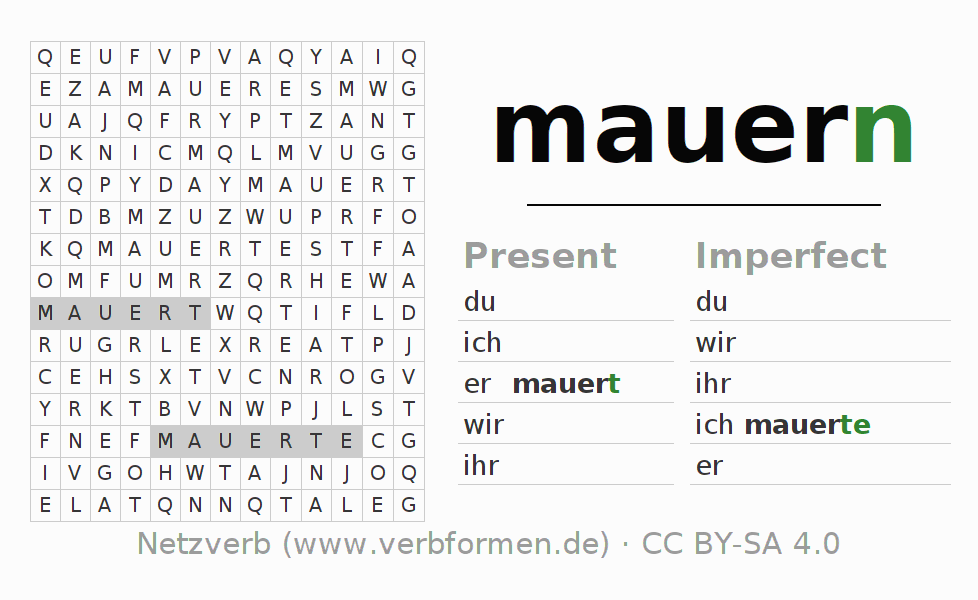 Word search puzzle for the conjugation of the verb mauern