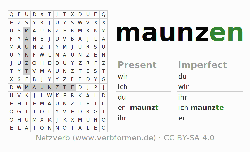 Word search puzzle for the conjugation of the verb maunzen