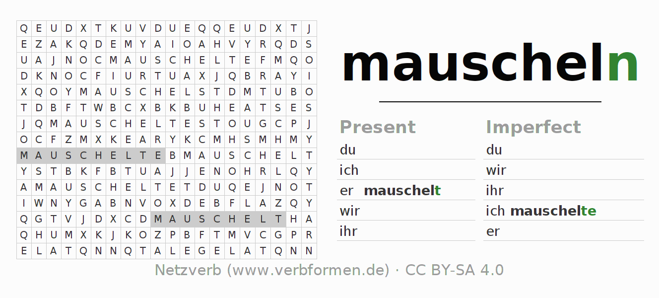 Word search puzzle for the conjugation of the verb mauscheln