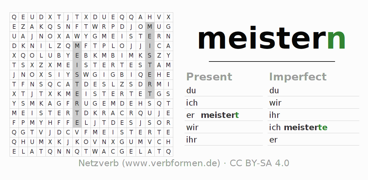 Word search puzzle for the conjugation of the verb meistern