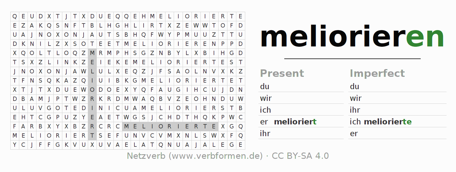 Word search puzzle for the conjugation of the verb meliorieren