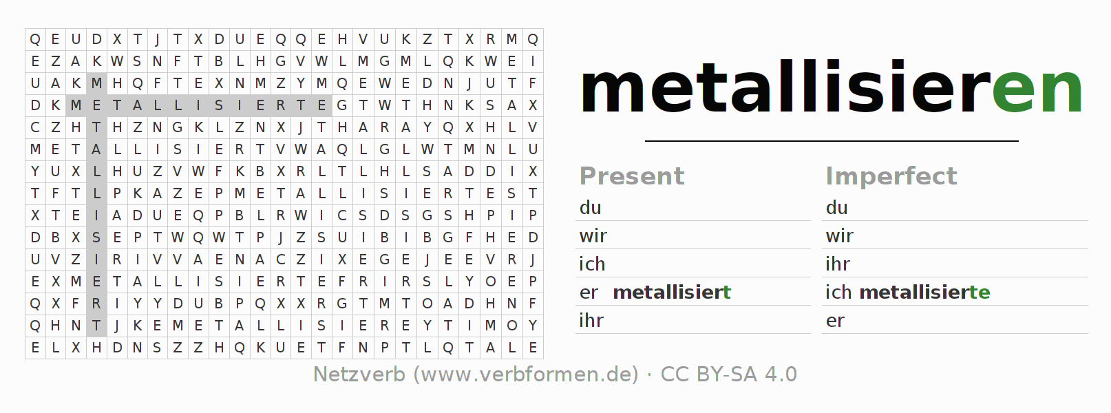 Word search puzzle for the conjugation of the verb metallisieren