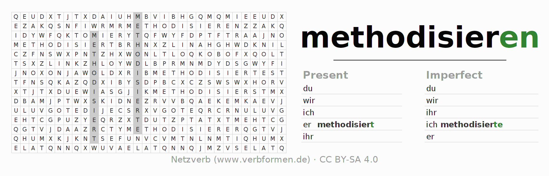 Word search puzzle for the conjugation of the verb methodisieren