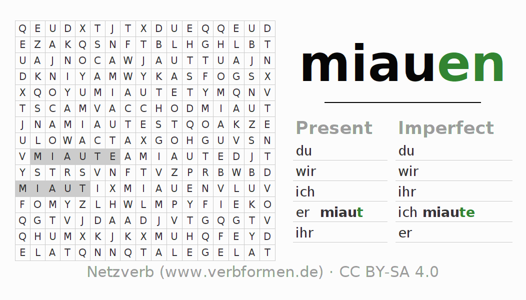 Word search puzzle for the conjugation of the verb miauen