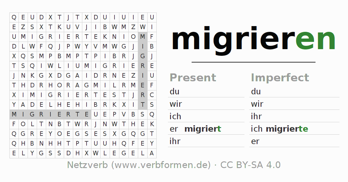 Word search puzzle for the conjugation of the verb migrieren (hat)
