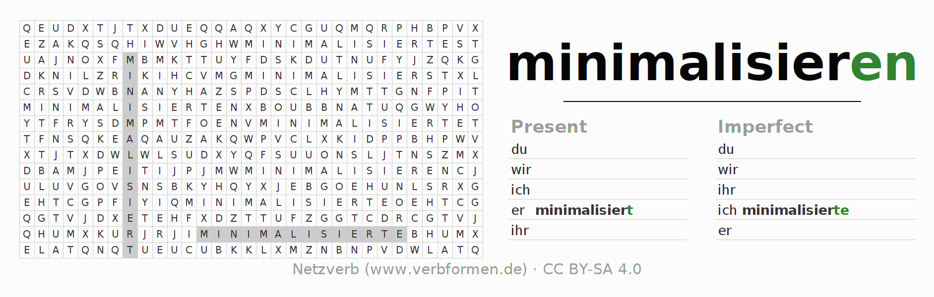 Word search puzzle for the conjugation of the verb minimalisieren
