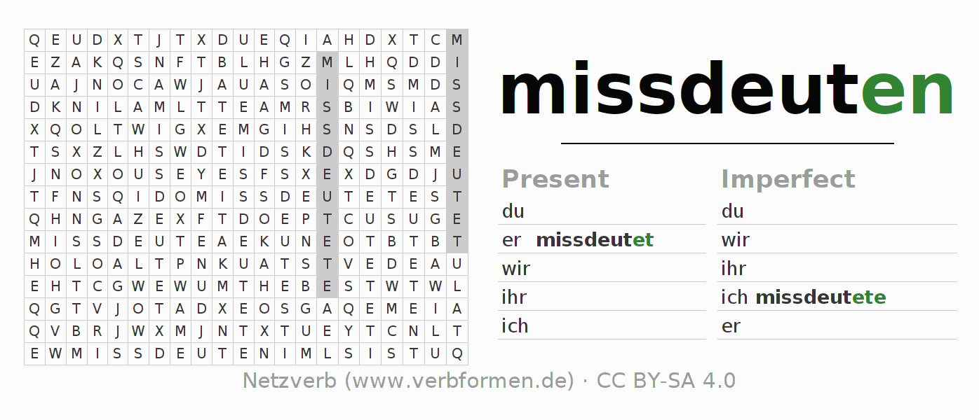 Word search puzzle for the conjugation of the verb missdeuten